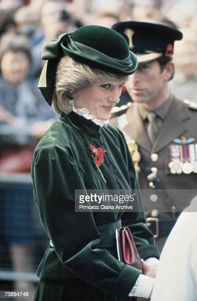 Princess Diana wearing a Caroline Charles suit and John Boyd hat at the Guard's Chapel London November 1983