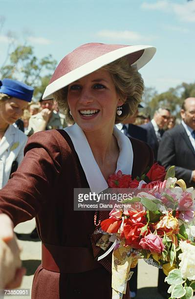 Princess Diana wearing a Catherine Walker dress on a visit to Puckapunyal Army Centre Victoria Australia October 1985