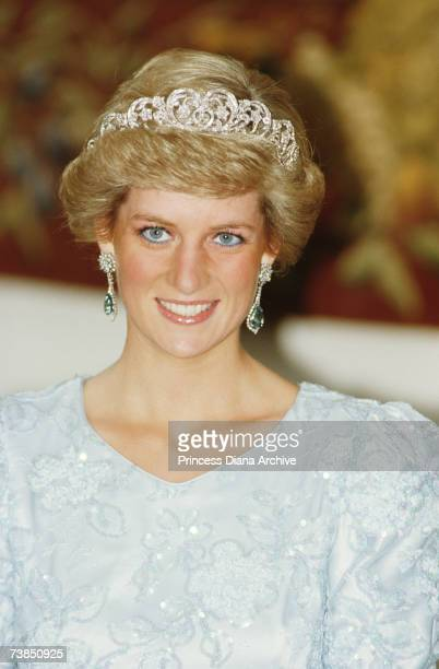 Princess Diana wearing a Catherine Walker gown and the Spencer tiara at a banquet in Munich November 1987