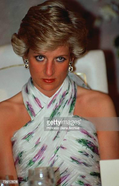 Princess Diana wearing a Catherine Walker gown at a banquet given by President Ibrahim Babangida in Lagos, Nigeria, March 1990.
