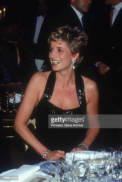Princess Diana wearing a Catherine Walker gown at a dinner at the Palace of Versailles Paris November 1994
