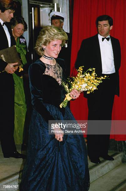 Princess Diana wearing a Catherine Walker gown to the London premiere of the film Amadeus January 1985