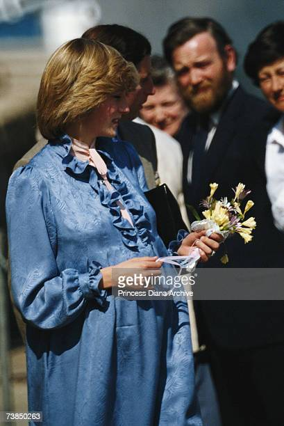 Princess Diana wearing a Catherine Walker materinity dress during a visit to St mary's on the Isles of Scilly April 1982