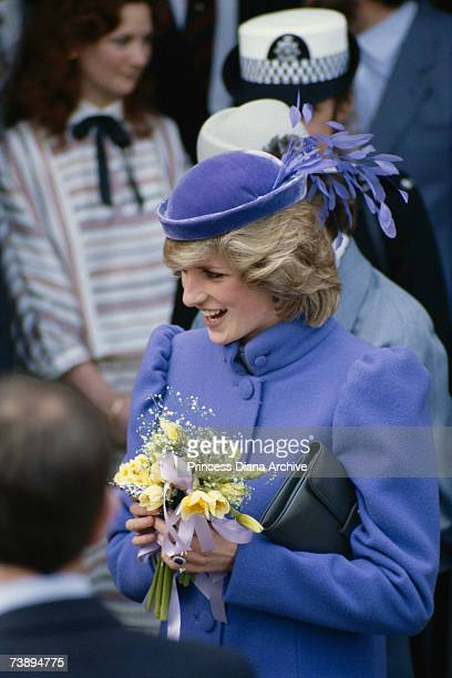 Princess Diana wearing a Catherine Walker maternity coat and John Boyd hat during a visit to Leckhampton in Gloucestershire 9th March 1984