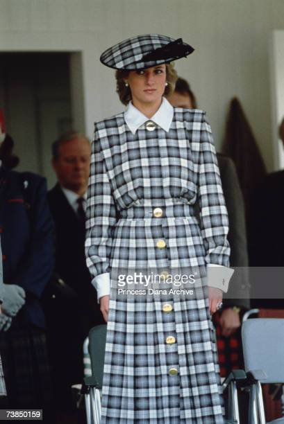 Princess Diana wearing a Catherine Walker suit at the Braemar Games, Scotland, September 1989.