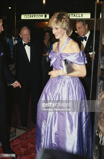 Princess Diana, wearing a Donald Campbell gown, attending a performance of 'Hayfever' at the Queen's Theatre in London, November 1983.