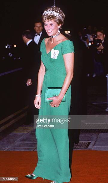 Princess Diana Wearing A Dress Designed By Fashion Designer Catherine Walker To A Banquet At The Dorchester Hotel For The Yang Dipertuan Agong Of...