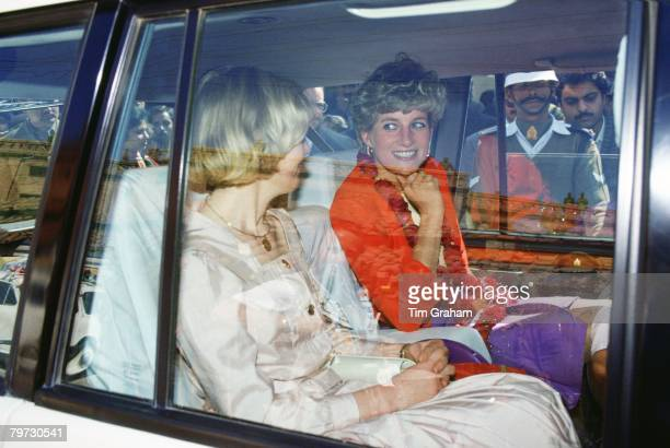 Princess Diana wearing a garland after a visit to the Marie Stopes Clinic The Princess is on her way to the Taj Mahal