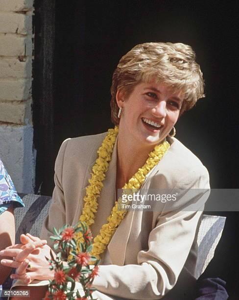 Princess Diana Wearing A Garland