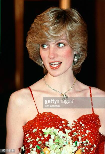 Princess Diana Wearing A Gold And Diamond Necklace In The Shape Of The Prince Of Wales Feathers For A Visit To The Royal Opera House