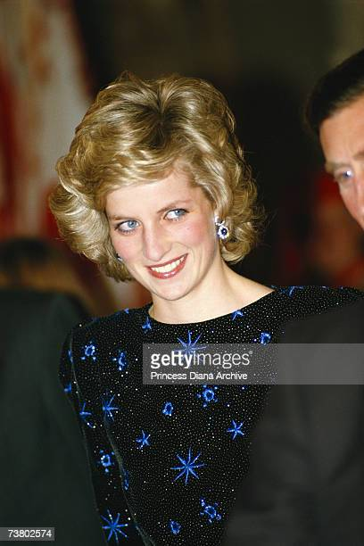 Princess Diana wearing a Jacques Azagury gown attending a mayoral dinner in Florence Italy April 1985