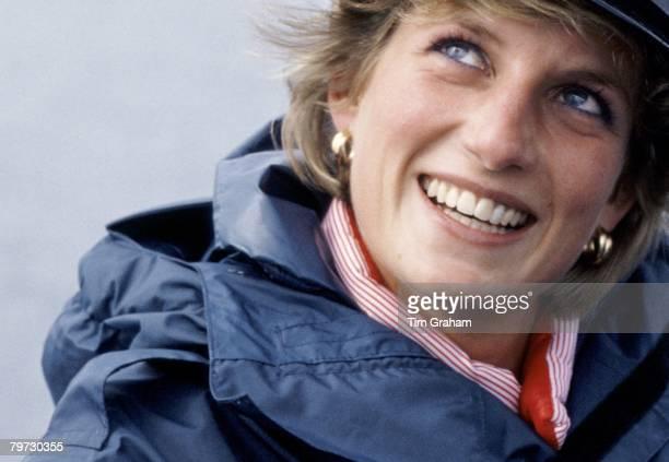 Princess Diana wearing a naval hat