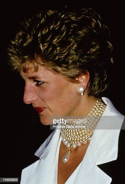 Princess Diana wearing a pearl necklace to a gala performance at Her Majesty's Theatre London 6th November 1993