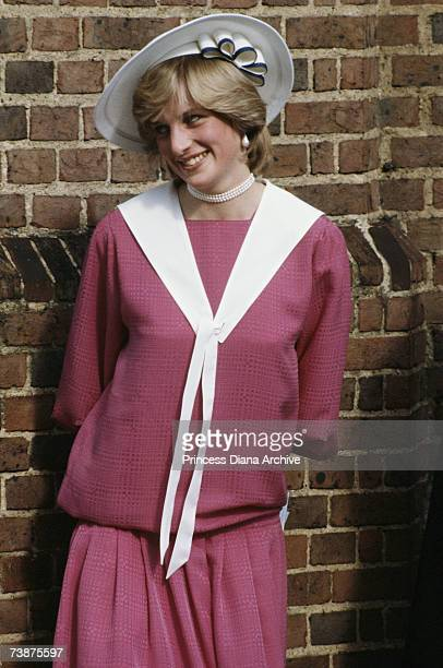 Princess Diana wearing a pink outfit at the wedding of her former flatmate Carolyn Pride and William Bartholomew, London, September 1982.