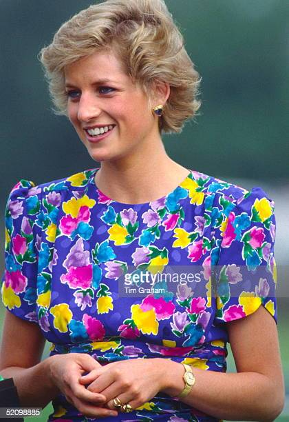 Princess Diana Wearing A Signet Ring And Other Rings While At A Polo Match In Summer 1988.