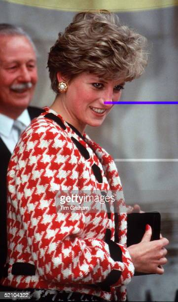 Princess Diana Wearing A Suit Designed By Fashion Designer Moschino Adapted By A Change Of Ribbon Threaded Through The Jacket
