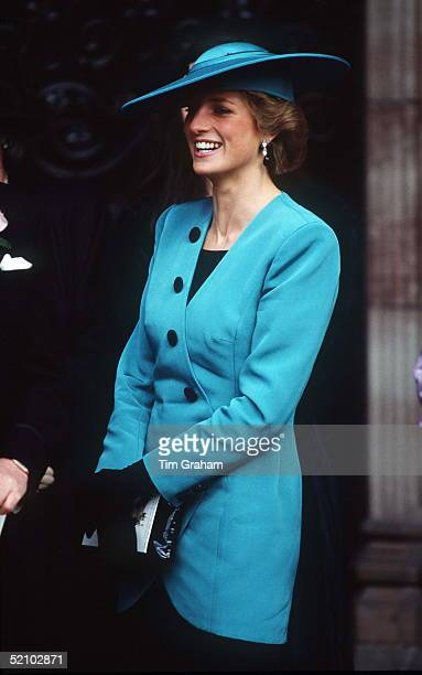 Princess Diana Wearing A Turquoise Jacket Designed By Fashion Designer Catherine Walker To Attend A Friend's Wedding