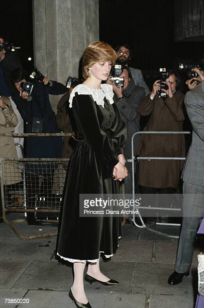 Princess Diana wearing a velvet Gina Frattini dress at the National Film Theatre on the South Bank in London November 1981