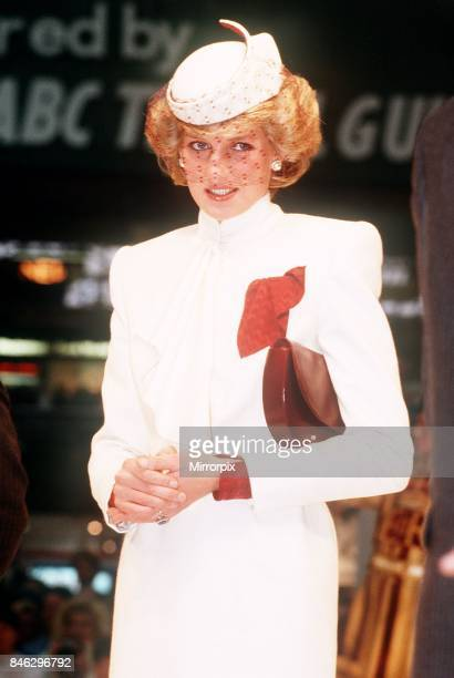 Princess Diana wearing a white ensemble with red accents opens the the World Travel Market at Olympia London 27th November 1985