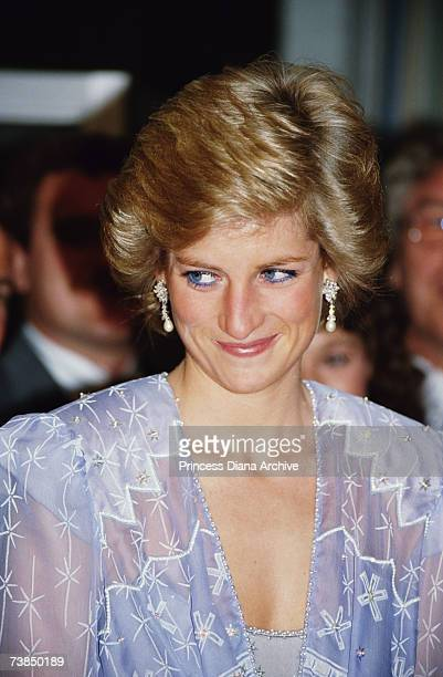 Princess Diana wearing a Zandra Rhodes cocktail dress to a reception at the British Consulate in Dubai March 1989