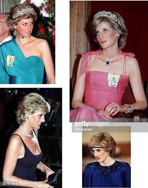 Princess Diana Wearing An Emerald Diamond Choker And The Royal Family Order Of Queen Elizabeth II Composite Circa 1990s