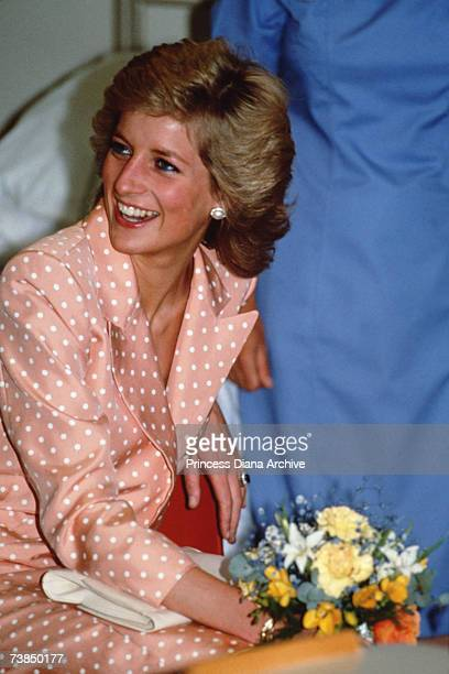 Princess Diana wearing dress by Catherine Walker on a visit to Freemantle Hospital, Newcastle, 12th July 1989.