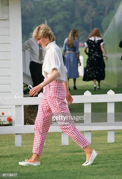 Princess Diana Wearing Pink Gingham Trouserse At Guards Polo Club In Windsor