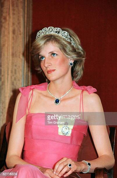 Princess Diana, Wearing The Spencer Family Tiara With A Suite Of Sapphire And Diamond Jewels Which Had Been A Gift From The Crown Prince Of Saudi...