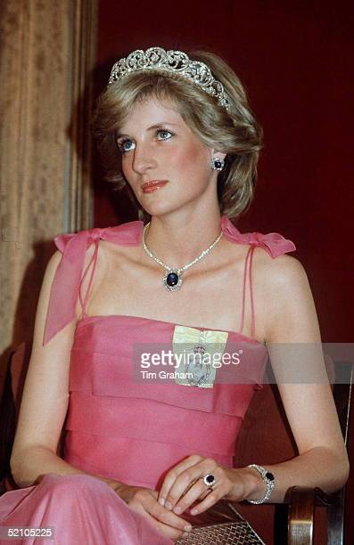 Princess Diana Wearing The Spencer Tiara And The Royal Family Order During A Banquet In Australia