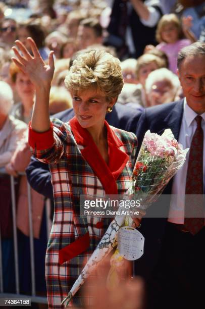 Princess Diana wears a Catherine Walker coat dress on a visit to Paisley Scotland 19th June 1992