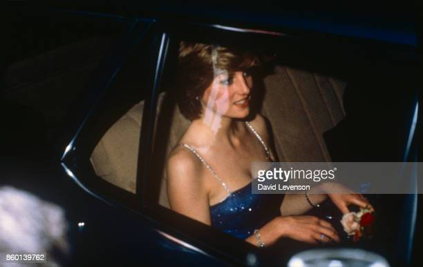 Princess Diana wears a diamante strap evening dress leaving the Royal Academy of Arts on July 15 1981