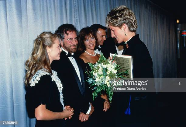 Princess Diana with American film director Steven Spielberg and his wife Kate Capshaw at the London premiere of Spielberg's film 'Jurassic Park' 15th...