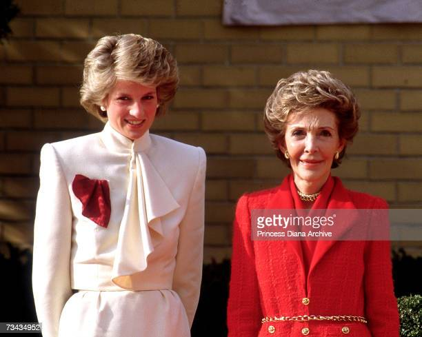 Princess Diana with American First Lady Nancy Reagan during a visit to a drug rehabilitation centre in Washington DC November 1985