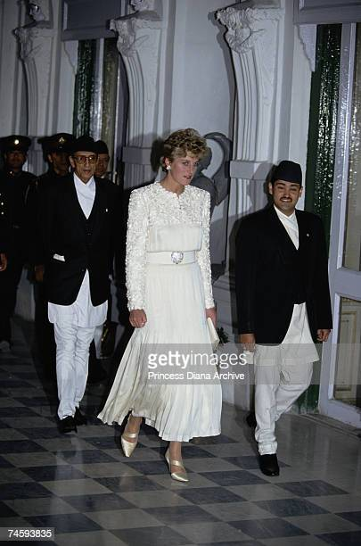 Princess Diana with Crown Prince Dipendra of Nepal and Prime Minister Girija Prasad Koirala at a banquet at the Royal Palace in Kathmandu Nepal 3rd...