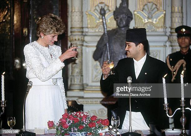 Princess Diana with Crown Prince Dipendra of Nepal at a banquet at the Royal Palace in Kathmandu Nepal March 1993