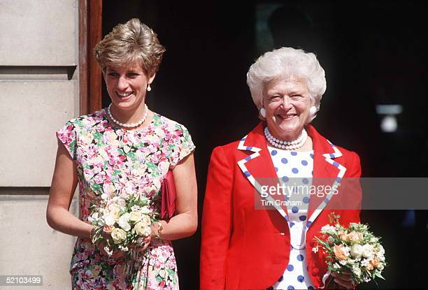 Princess Diana With First Lady Barbara Bush Visiting The Middlesex Hospital In London To Visit Patients With The Hiv Aids Virus