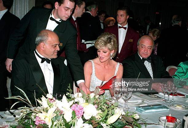 Princess Diana with heart surgeon Magdi Yacoub left and Mohammed Al Fayed during a charity dinner for the Harefield Heart Unit held at Harrods London...