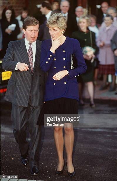Princess Diana With Her Bodyguard Ken Wharfe During A Visit To Oxford