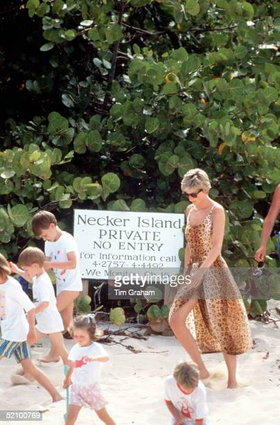 Princess Diana With Her Children Walking On The Beach During A Holiday On Richard Branson's Island Necker Island