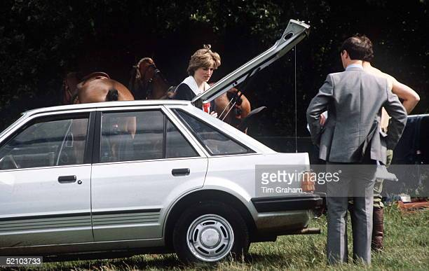 Princess Diana With Her Ford Escort 16 Ghia At A Polo Match