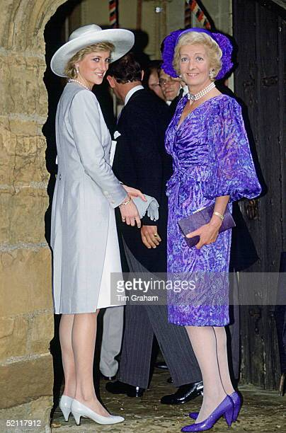Princess Diana With Her Mother Frances Shandkydd At The Wedding Of Viscount Spencer And Victoria Lockwood At The Church Of Saint Mary The Virgin In...