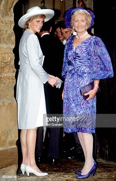 Princess Diana With Her Mother Mrs France Shandkydd Attending The Wedding Of Viscount And Viscountess Althorp At The Church Of St Mary The Virgin In...