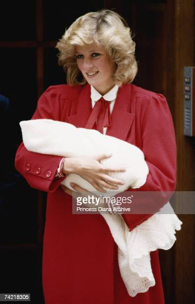 Princess Diana with her newborn second child Prince Harry at St Mary's Hospital London September 1984