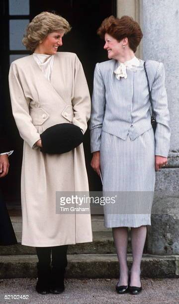 Princess Diana With Her Older Sister Lady Sarah Mccorquodale On A Visit To Their Old School, West Heath, In Kent.
