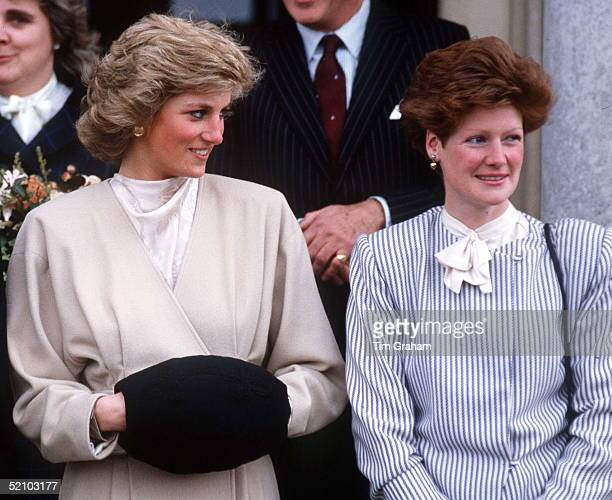 Princess Diana With Her Older Sister Lady Sarah Mccorquodale On A Visit To Their Old School West Heath School In Kent