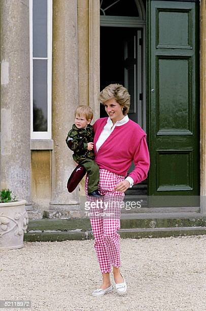 Princess Diana With Her Son Prince Harry At Their Country Home Highgrove House