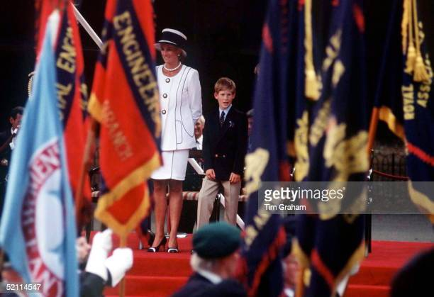 Princess Diana With Her Son Prince Harry Watching The Parade Of Veterans On Vj In The Mall Londnon