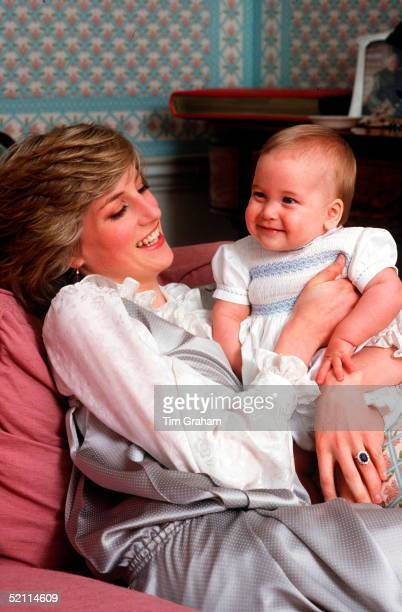 Princess Diana With Her Son Prince William At Kensington Palace