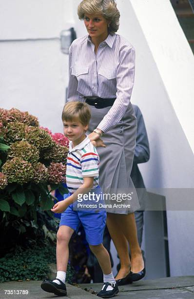 Princess Diana with her son Prince William on his brother's first day at Mrs Mynors nursery school in London September 1987