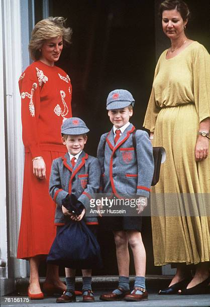Princess Diana with her sons Prince William and Prince Harry at Wetherby School on September 12 1989 in London England It is Prince Harry's first day...
